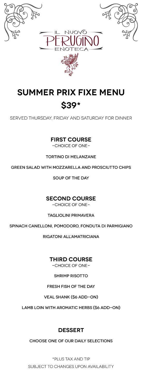 summer menu @  Il Nuovo Perugino Enoteca